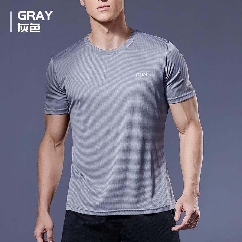 2020 Poliéster Gimnasio Camisa Deporte camiseta de los hombres de manga corta Hombres corrientes entrenamiento del entrenamiento de la aptitud Tees Top Sport camiseta