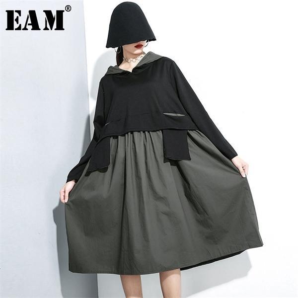 [Eam] mulheres hem plissada contraste cor vestido de temperamento novo capuz manga longa solta apto de moda maré primavera outono 2020 1H1480924