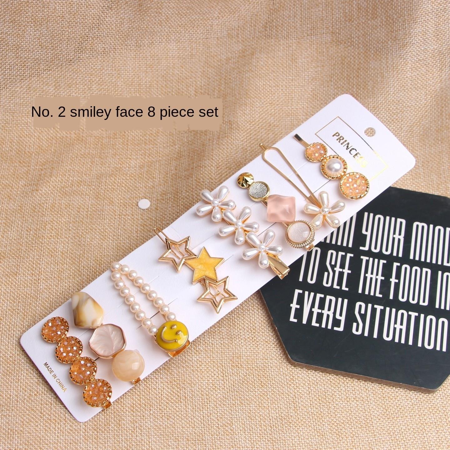 2020 l'industria pesante stelle marine Internet celebrità tornante 8 pezzi serie perla copricapo ins stile coreano accessori per capelli della forcella della perla delle donne