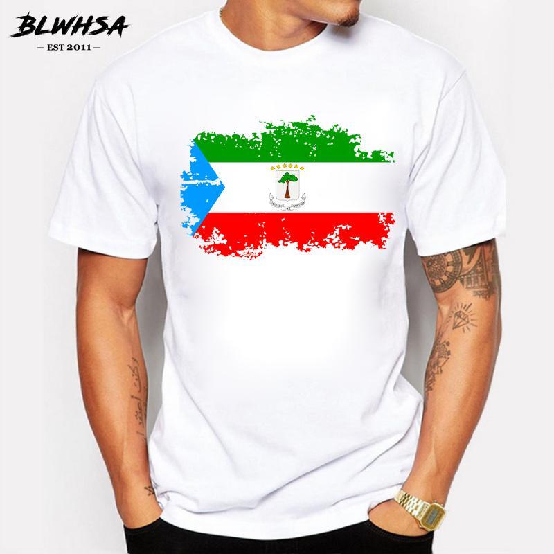 BLWHSA Guinée équatoriale Drapeau T-shirt manches courtes en coton Mode Marque T-shirts Drapeau national Guinée équatoriale Cool T