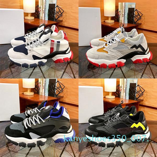 Neue Männer Sneaker Kalbsleder Paris-Plattform-Schuhe Lassen Sie keine Spur Trainer Vintage Mode-Nylon Low Top Freizeitschuhe Chaussure k007