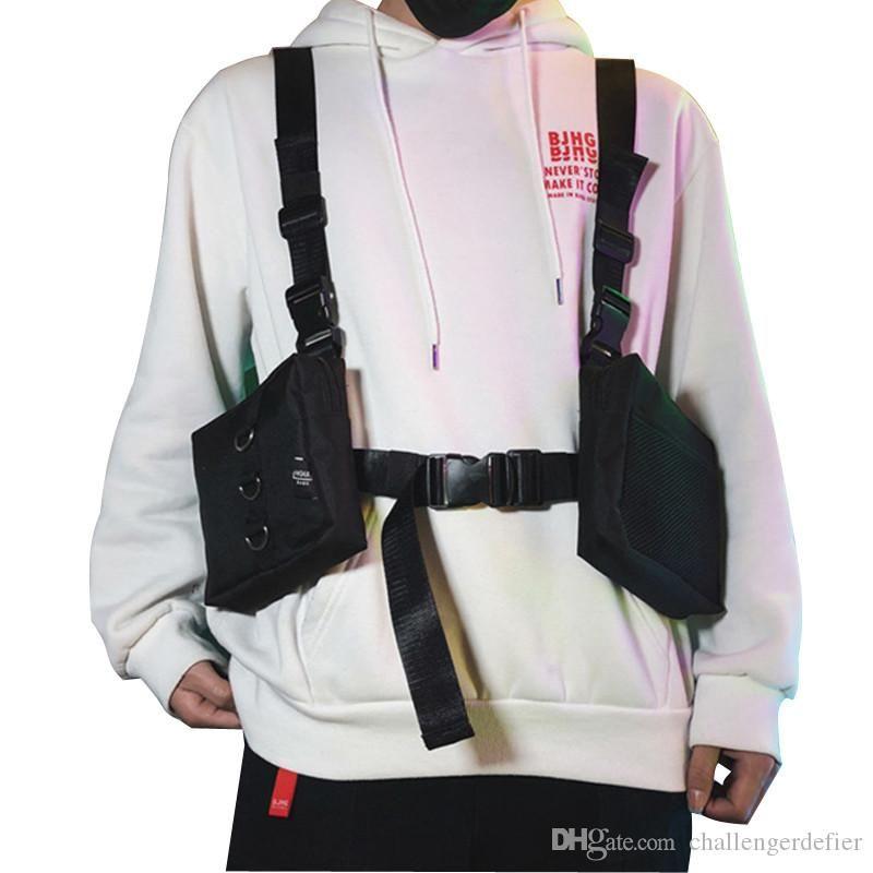 West Hip Hop Streetwear Men's Functional Pocket Backpack Adjustable Vest Men's Tactical Shoulder Bag Chest Bag