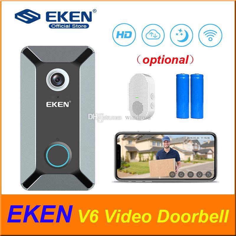 الأصل EKEN V6 720P WIFI فيديو الجرس الرئيسية جرس الباب الرنين اللاسلكية جرس الباب البصرية سحابة التخزين في الوقت الحقيقي اتجاهين الصوت للرؤية الليلية