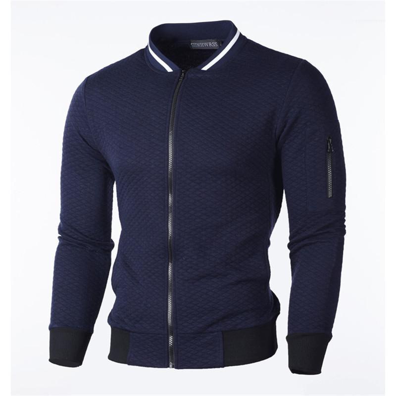 Schlanke Männer Jacke Homme Fashion Cardigan Oberteile Herren-Designer Reißverschluss Jacken Kragen fester Plaid Ständer