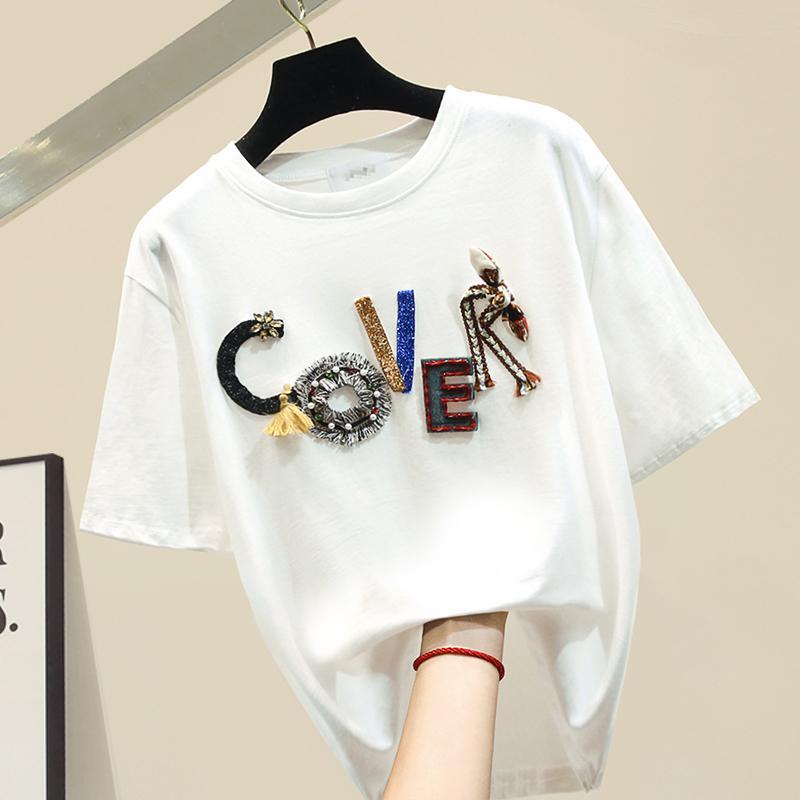 Ricamo lettere che bordano manica corta maglietta donne o-collo bianco tee shirt femme cotone di base allentata della maglietta 2020 parti superiori di estate