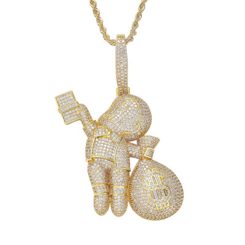 Carton Kid holding Sacco di soldi fuori ghiacciato CZ personalità Boy Bling ciondolo di diamanti nuovo Large Size di fascia alta gioielleria Hiphop
