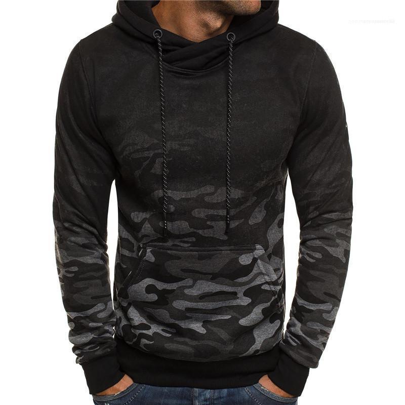 Tasche Panelled Menshoodies-beiläufige Männer Kleidung Camouflage Print Mens Designer Hoodies Art und Weise lose Gradient Big