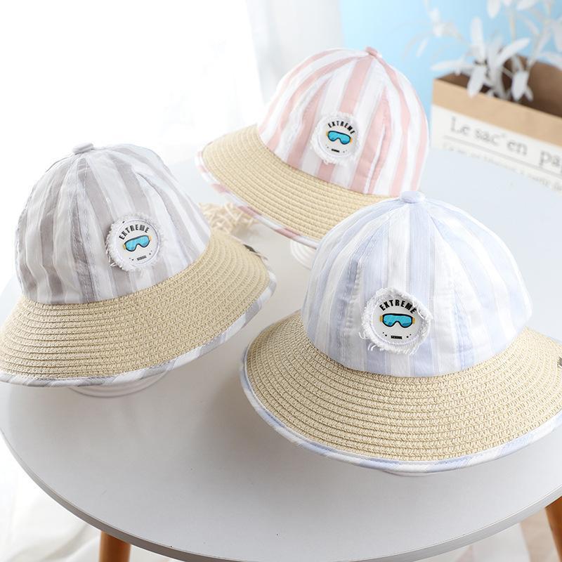 Лета младенца Mosaic Соломенная шляпка Большой Брим Зонт мультфильм Милый мальчик Открытый Рыбак Hat Ins Корейский Детский Hat