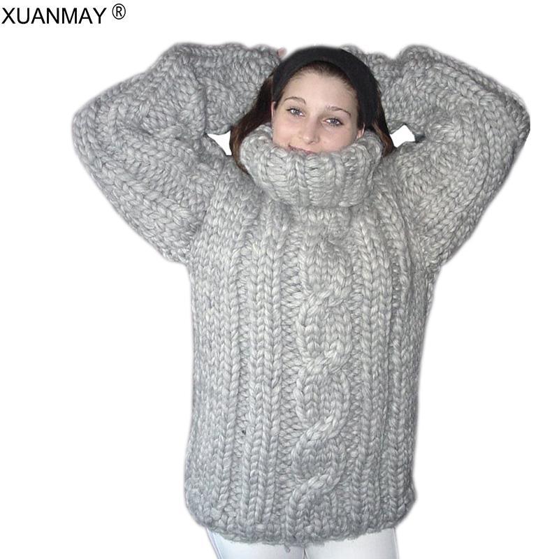 겨울 슈퍼 두꺼운 따뜻한 여성의 터틀넥 스웨터 패션 손으로 짠 대형 5XL 코드 풀오버 스웨터 2020 가을