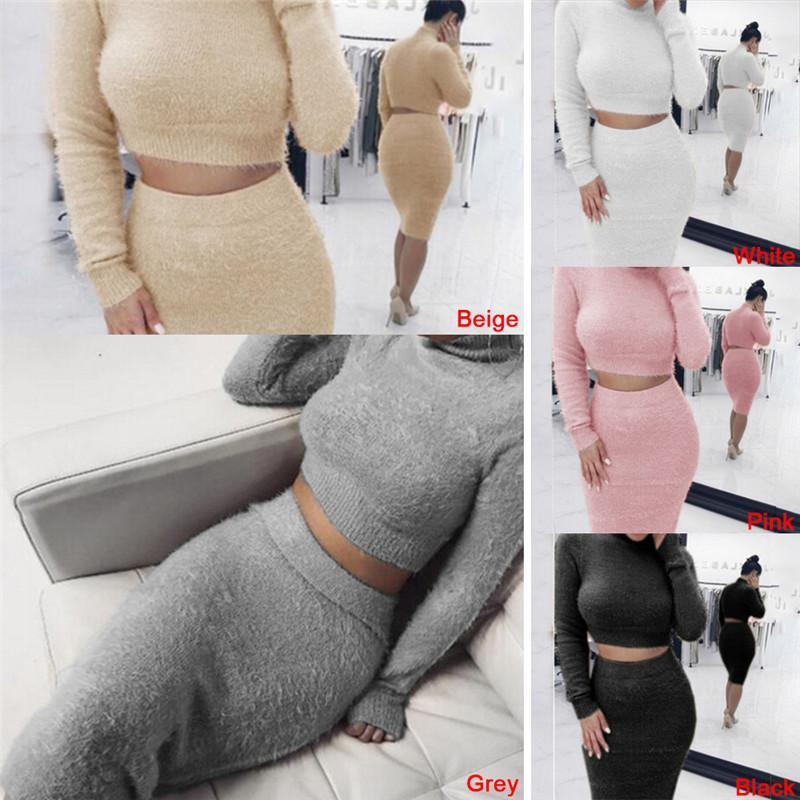 Set(2pcs )Autumn Women Bandage Suit Long Sleeve Fleece Crop Top Pencil Midi Skirt Solid Bodycon Dress Sweater Tracksuit Female Clothing S-XL