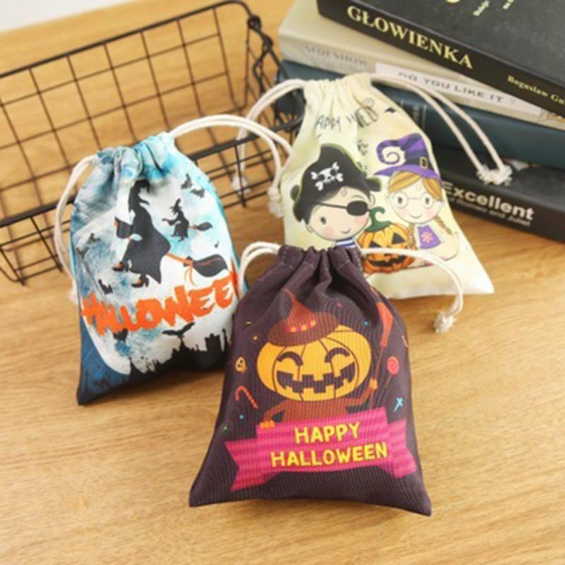 Halloween citrouille sorcières fantôme enfants enfants Sac cordonnet cadeau de stockage Candy Bag stockage des cookies Party Supplies Pouch 1pc