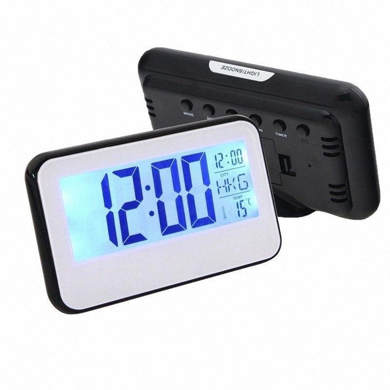O alarme de LED CANÇÃO julho relógio de luz Controle de Voz Digital Relógio de mesa Noite Temperatura Eletrônico Despertador Snooze Desk 7j6Z #