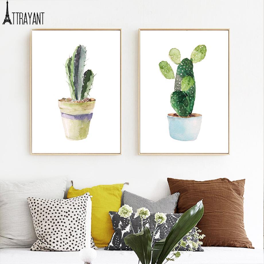 plante en pot Cactus Wall Art Toile Peinture Affiches nordique et scandinave Impressions Wall Art photos pour Salon Home Decor
