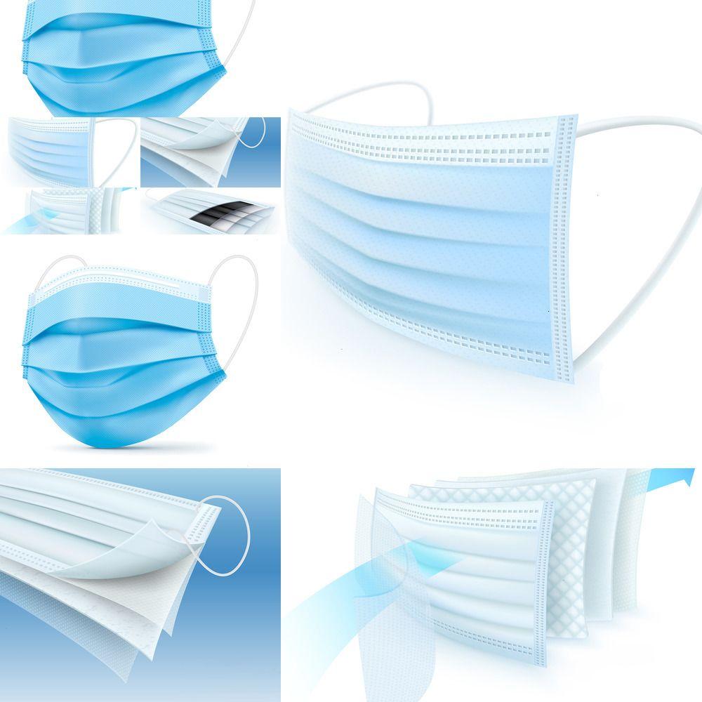 100шт Одноразовый лица дыхания Защитная маска Рот 50шт / коробка L4J4N LU