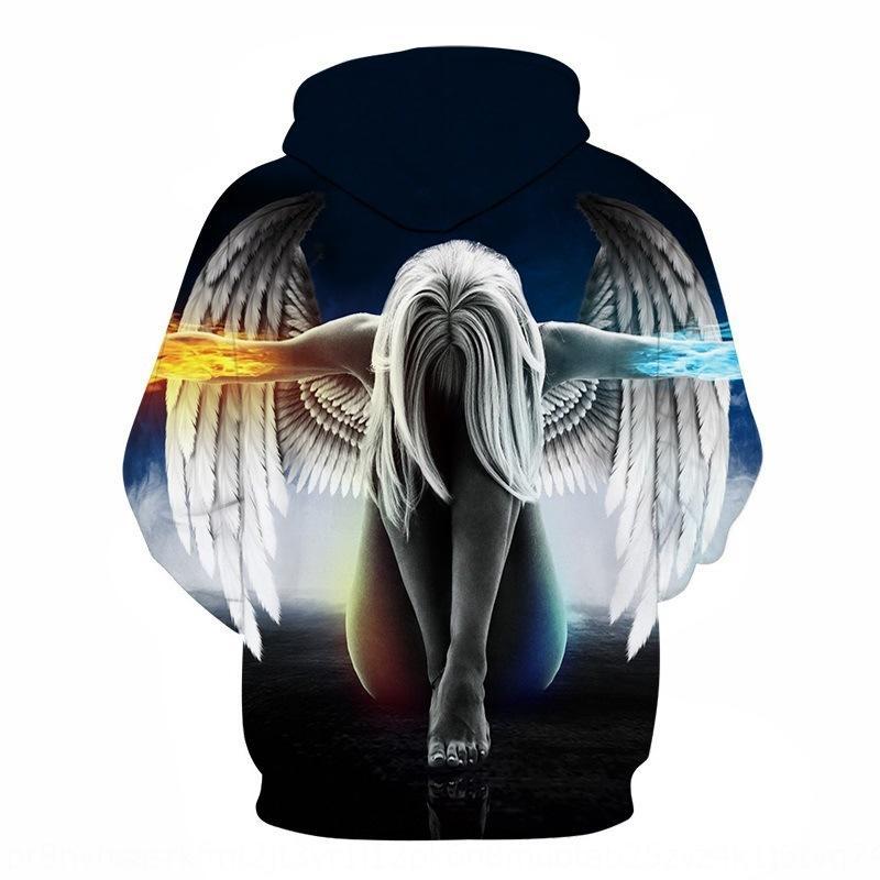 v0o9k autunno e maglione con cappuccio collo del pullover di inverno degli uomini inverno rotondo lungo maglione pullover perdere creativi ali di angelo stampa 3D