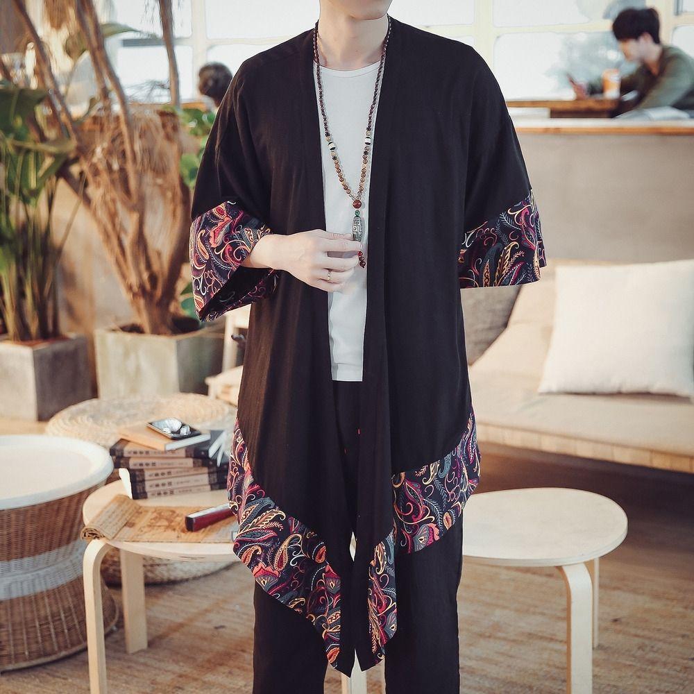 2020 biancheria nuova primavera di modo del cotone e l'estate di grandi dimensioni uomini giacca a vento di stile del cotone e lino camicia giacca a vento XVR cinese maschile qK0h2
