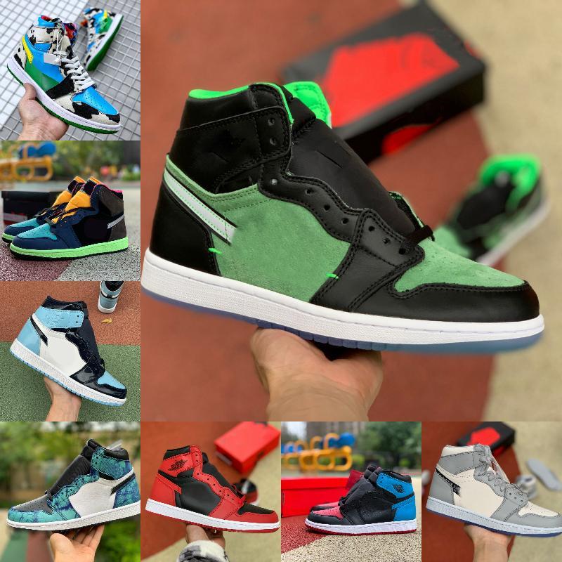 2020 jumpman 1 1s Basketbol ayakkabı erkekler Saten Yılan Orta Obsidian Patent Batik UNC için Chicago Chunky Dunky ZOOM ZEN YEŞİL Bio Hack Eğitmenler