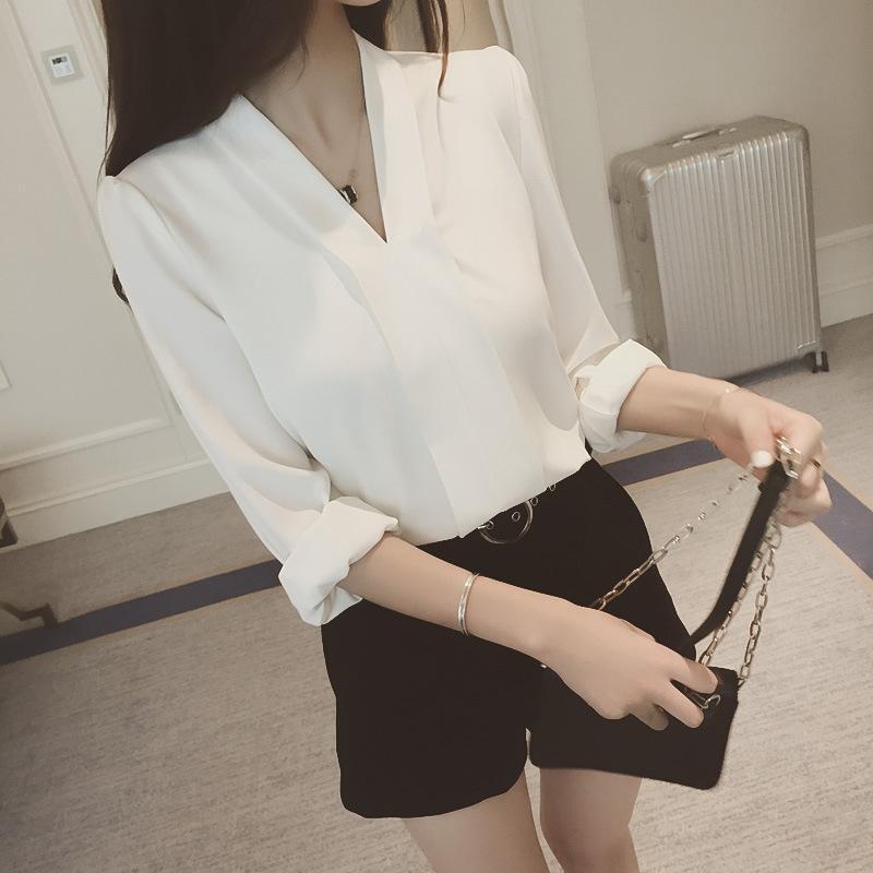 MAqBC manches de couleur et d'automne Nouveau V-cou printemps coréenne longue chemise en mousseline de soie chemise solide de base des femmes minceur pour les femmes en vrac