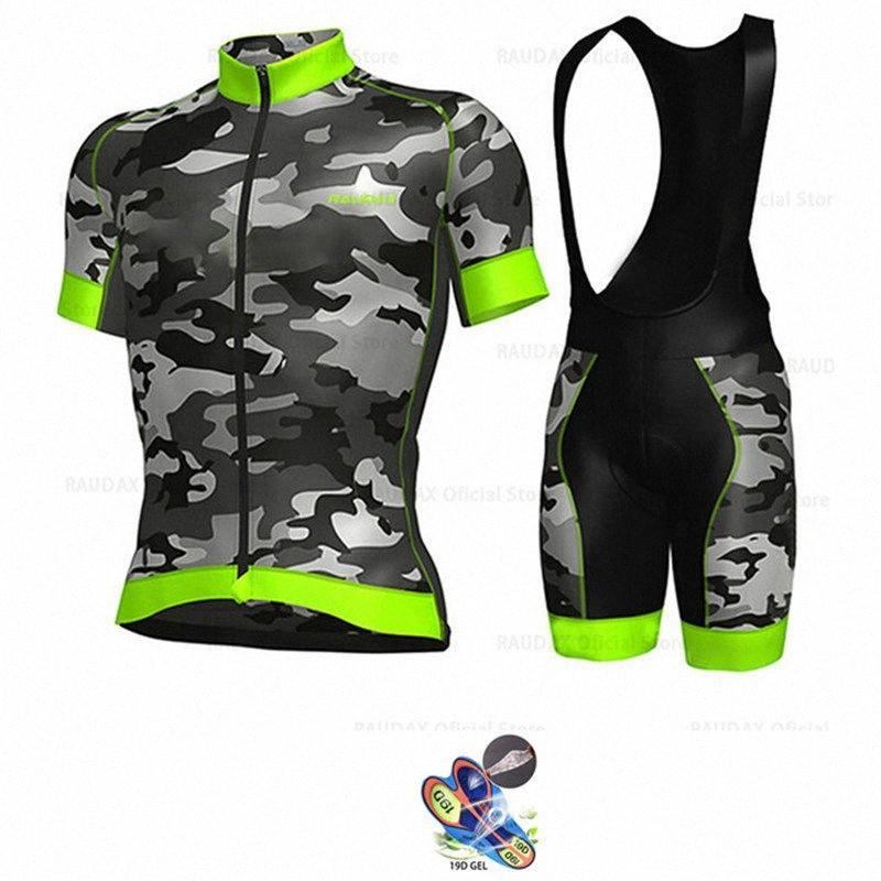 Bisiklet Jersey 2020 Kısa Kollu Bisiklet Giyim Kamuflaj Yeşil Yaz Nefes MTB Erkekler Bisiklet Biber Şort Ropa Ciclismo U3RS #