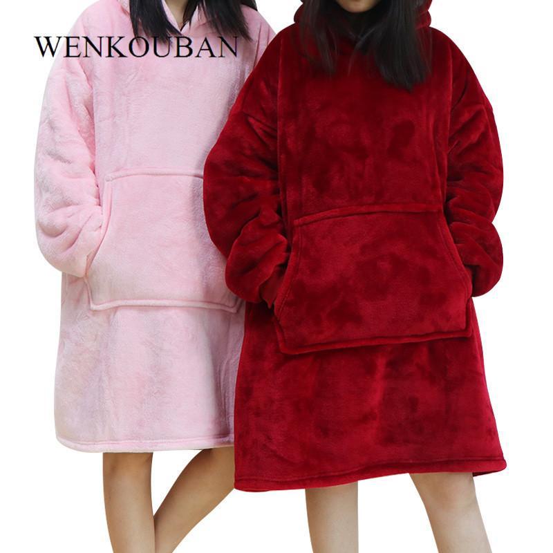 Hiver femmes sweat à capuche chaud poche extérieure couvertures longues à capuche pour les femmes Manteau en peluche surdimensionné Sweat Casaco Feminino MX200812