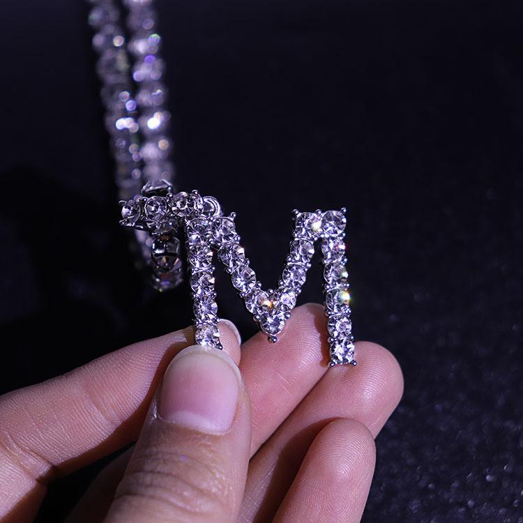 Alaşım alfabe kolye kolye tam elmas 5mm hip-hop sokak kişilik moda takı tatil hediye sosyal toplama