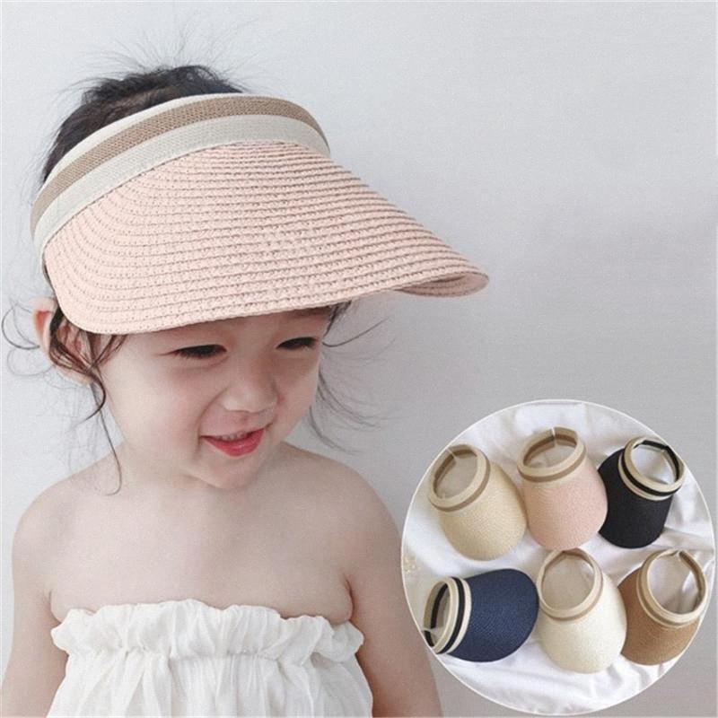 Bebek Kız Erkek Çocuk Güneş Visor için Koreli Çocuk Hasır Şapka Yaz Şapka Üst Güneş Şapka Açık Plaj Cap 55RJ # boşaltın