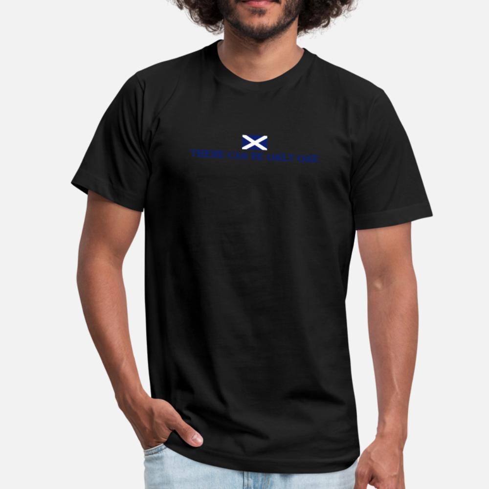 İskoçya t gömlek erkekler Karakter tişört Yuvarlak Yaka Temel Katı Gevşek Komik Yaz Stili Kıyafet gömlek