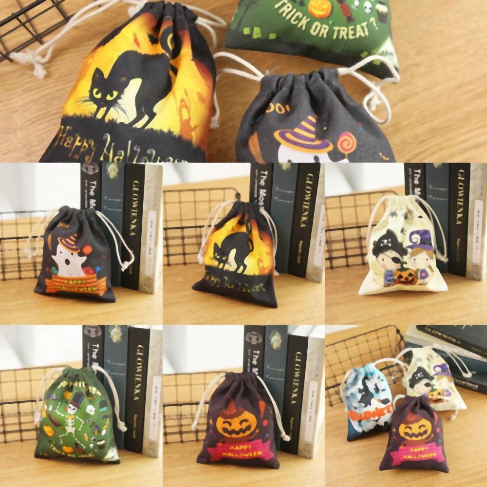 rDsp7 Кошелек или жизнь Сумки Хэллоуин конфеты ведро Подарочные сумки Ткань Tote подарочные пакеты для Хэллоуина тыквы ведьму Kids Bag Tote Bucket Ca