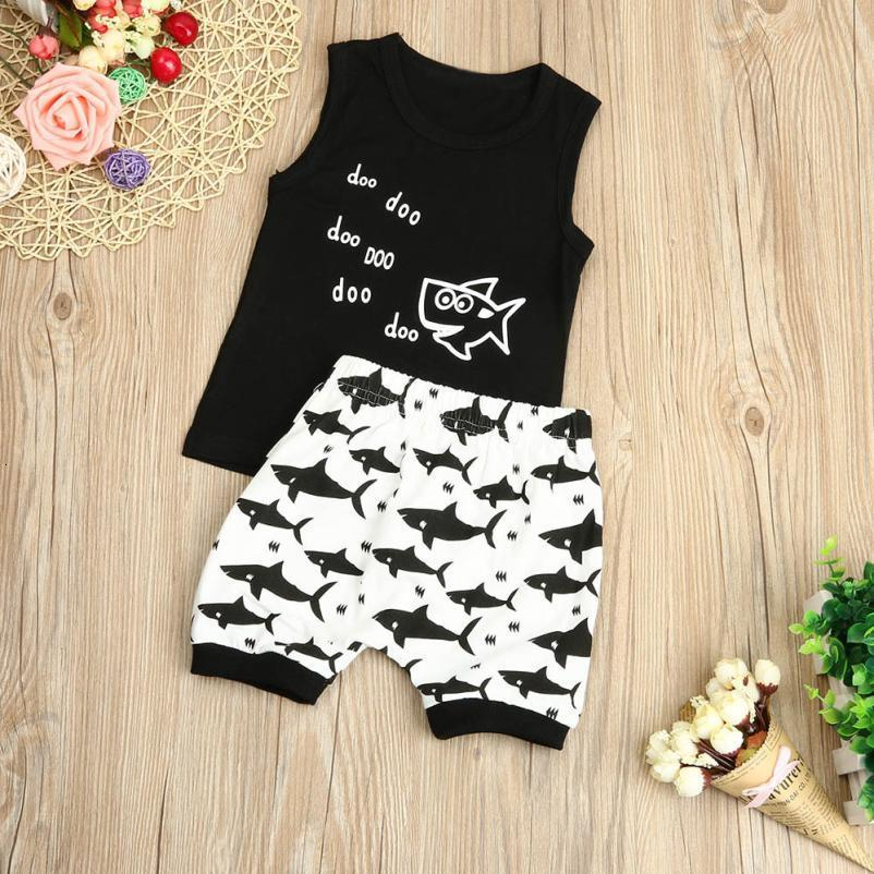 Newborn Infant Baby Girl Boy Sharkr T shirt Tops Shorts Pants Outfit Clothes Set soft all cotton harmless cute July25