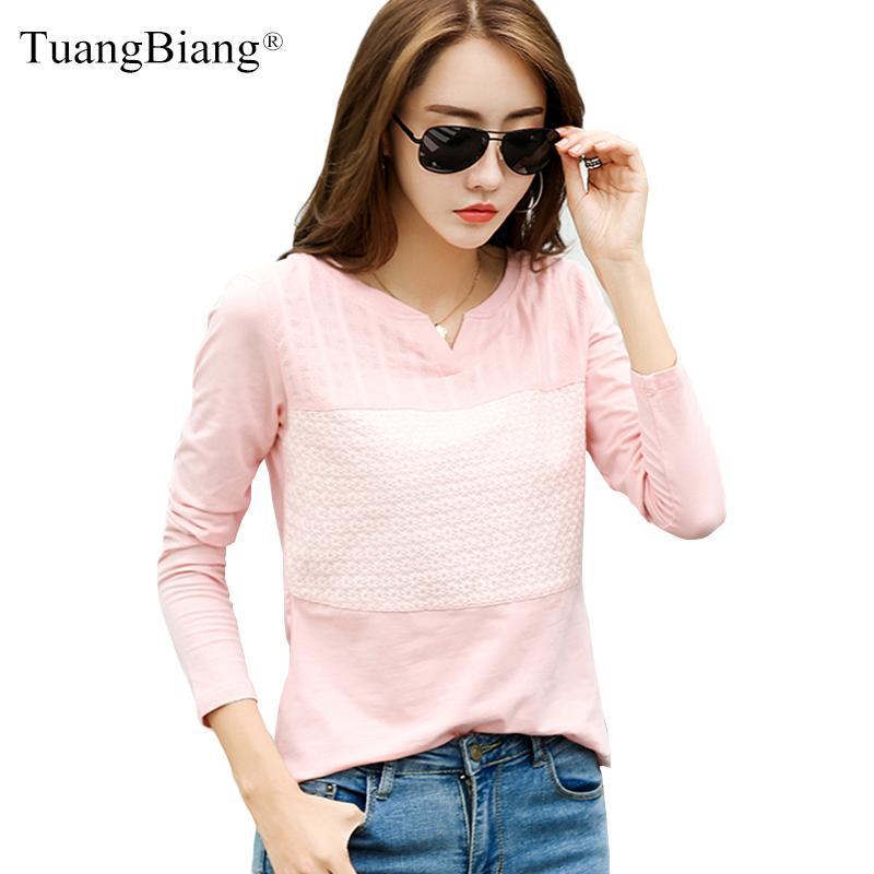 Кружева Лоскутная хлопка 2020 осень T рубашки женщин Свободные V-образным вырезом с длинным рукавом плюс размер футболки светло-розовый Зимняя мода Зеленый Tops