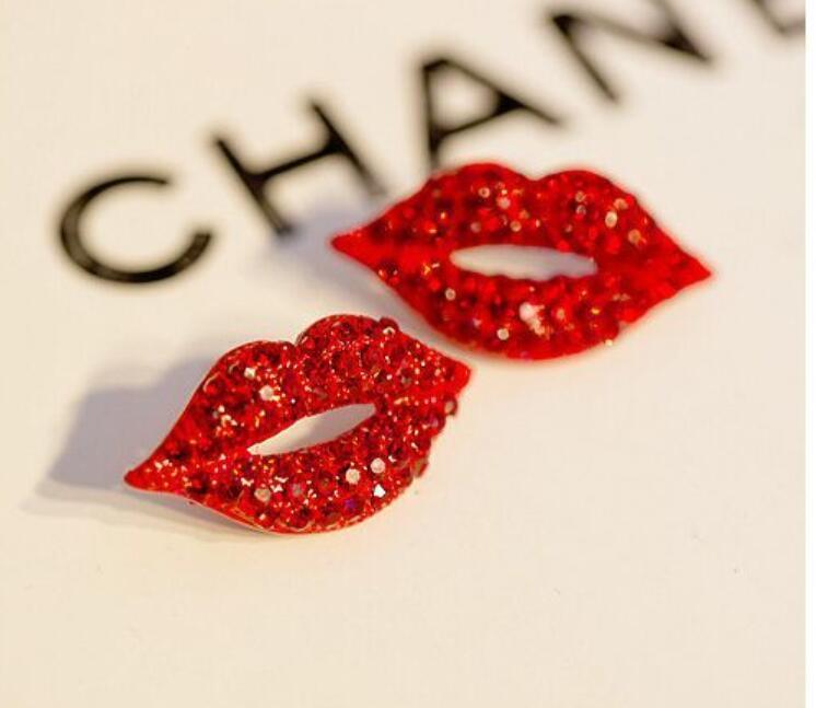 Novo sexy laber vermelho diamante prudente vintage encher strass garanhão grande brinco mulheres menina moda noite festa jóias namorados presente
