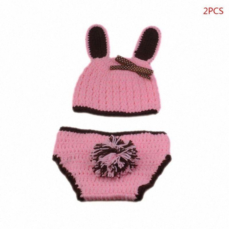 2pcs Новорожденный Фотография Реквизит младенца Knit Hat Упругие шорты Костюм FmPt #