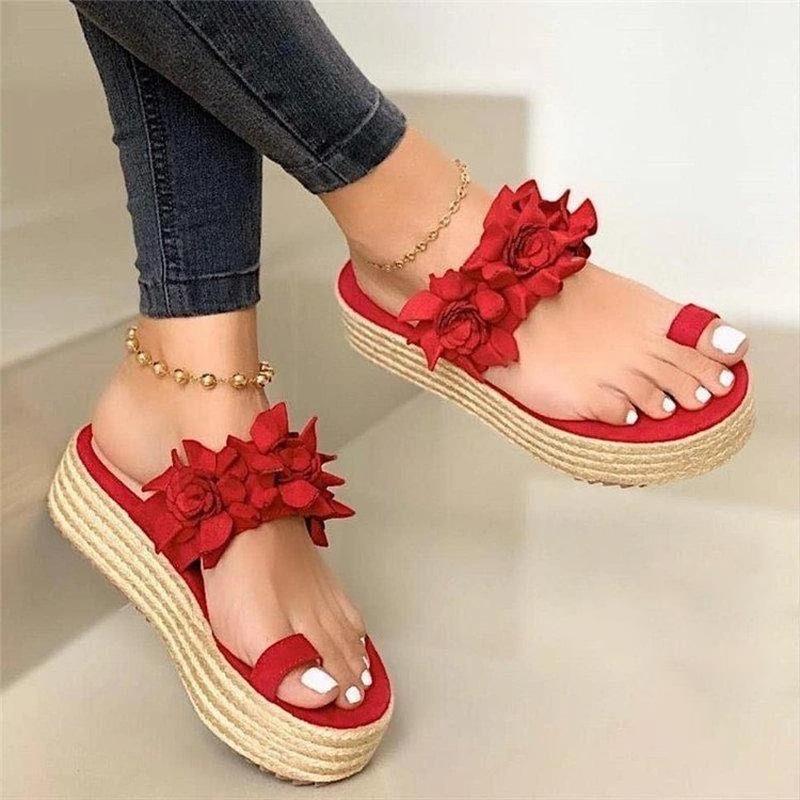 Mazefeng Marken-Sommer-Frauen-Sandelholz-Plus Size Schuh-Keil-Mode Bequeme Slipper NEUE Absatz-Schuhe Frau Sandalen Frauen 43