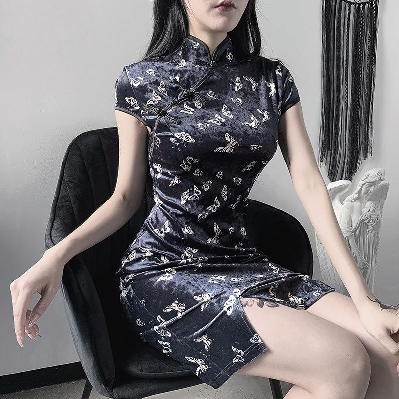 F9aMS rXOSe 92513P borboleta melhorou impressa cheongsam ins das mulheres vestido preto alta Borboleta sexy divisão fino vestido de cintura