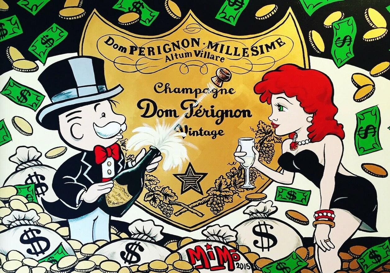 Alec Monopoly Graffiti art wall decor Champagne Handpainted &HD Print Oil Painting On Canvas Wall Art Canvas Pictures 200820