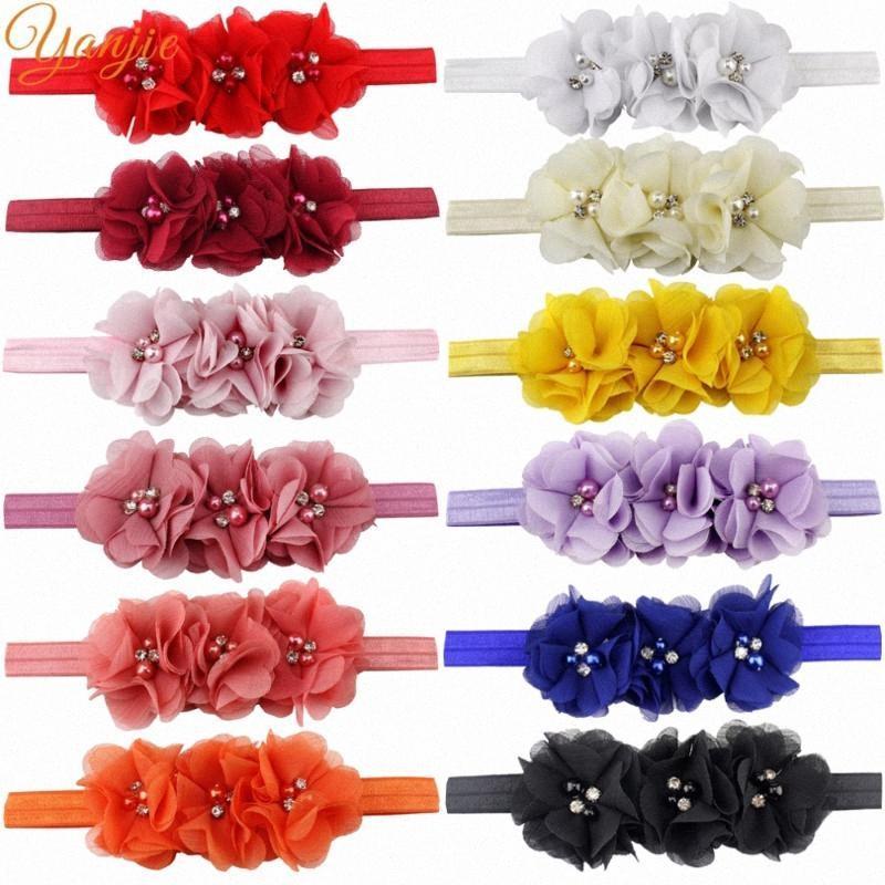 Trendy European 2 Blume Infantile Mädchen-elastisches Stirnband DIY Blume für Kinder Haarschmuck Kopfbedeckung Bandana für Partei-Kleinkind-Mädchen ZswI #