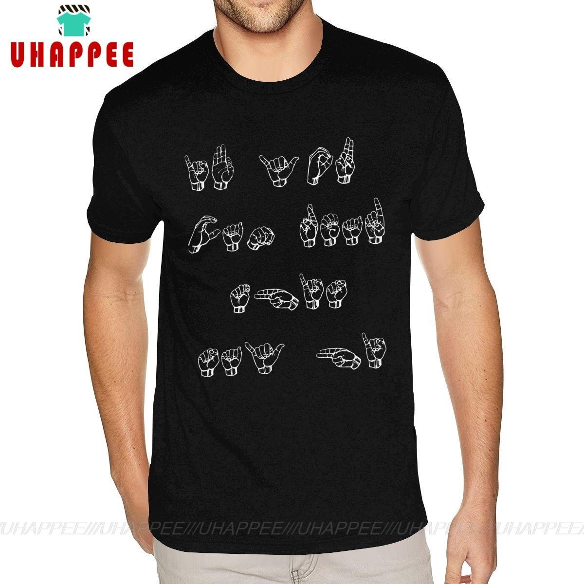 Büyük Boy Asl Amerikan İşaret Dili Tişört If You Can Oku Bu ... Öğretmen Tees Kısa Kollu Adam Boys S-6XL Boyut Siyah Tişört