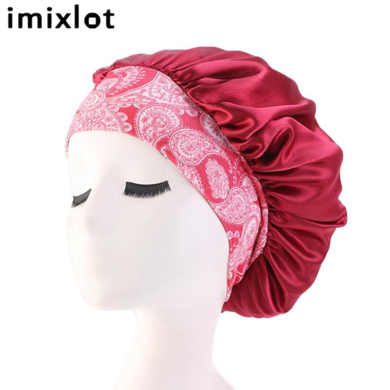 imixlot атласные кружева Спящий Hat Cap Ночной сон Уход за волосами Satin Bonnet для женщин с широкими полями Hairband Night Cap