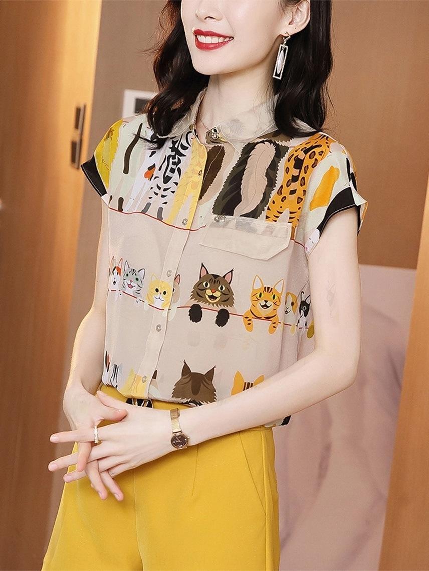 ieoHu historieta de las mujeres de manga corta 2020 nuevo sentido del diseño de envejecimiento tHNvk Camisa imitación tapa floja seda de mora de la impresión ocasional