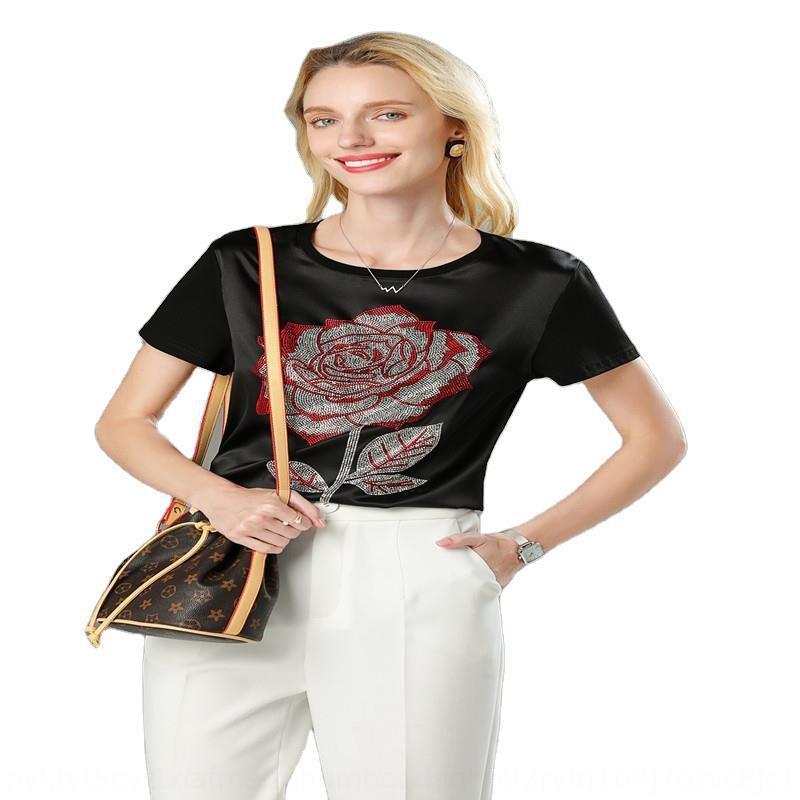 Ww37V mode chaud de diamant t-shirt été manches courtes T-shirt femmes 2020 nouveau autour du cou de soie court métrage français lâche haut de soie mûriers