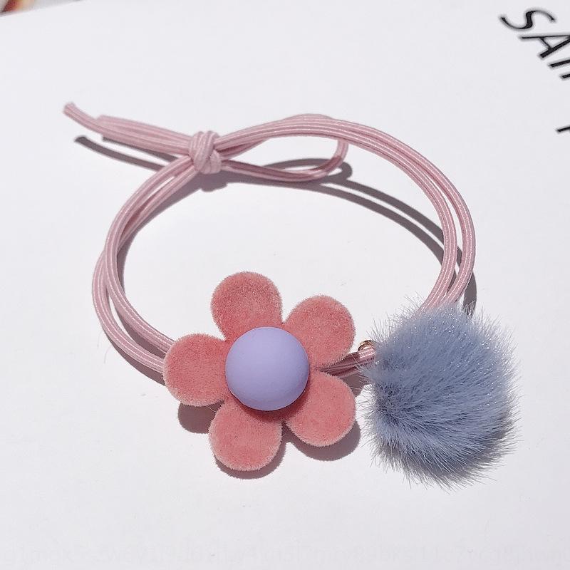 Elegante Blumenhaarseil Gummiband Online-Berühmtheit bunter Kopf Seil der Frauen koreanischer Stil niedliche einfache Lederbezug kleine Gummiband ihm