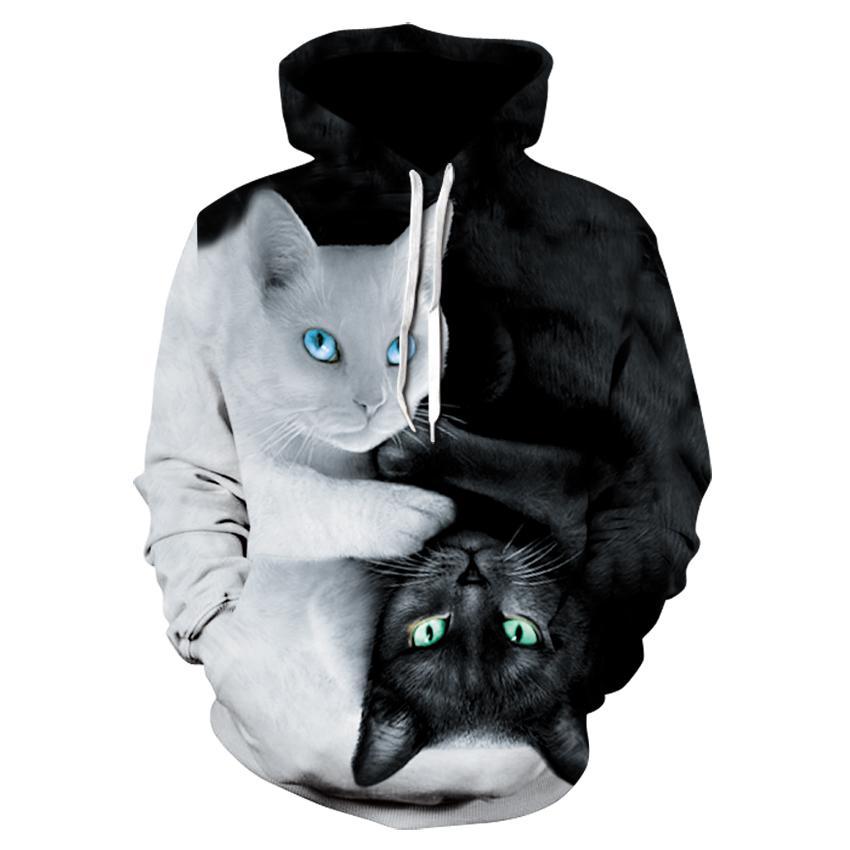 New animal print caracteres Hoodie 3d bla e hoodie do gato branco de 2019 homens marca de jumper e mulheres do hip-hop coa fina streetwear