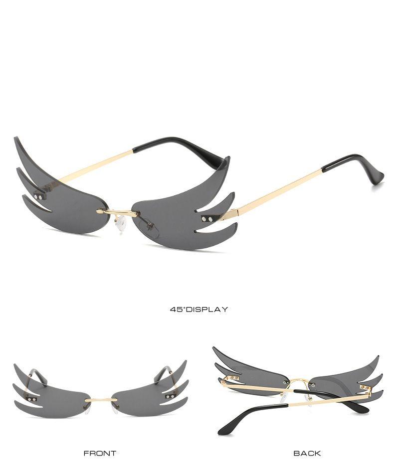 Mode Feuer Flamme Sonnenbrille Frauen Männer Randlos Welle Sonnenbrillen UV 400 Brillen Trending Grenzen Sonnenbrillen Street Partei-Sonnenbrille
