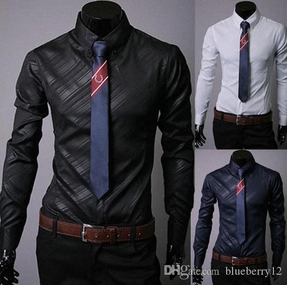 Shirt Camicie Uomo commerciali Large Size Trend Slim scuro Twill Business Casual Mens camicia a maniche lunghe per il maschio M-3XL l7pm #