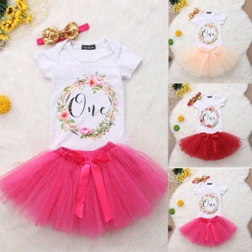Yenidoğan Bebek Kız Çiçek Doğum Giyim Seti Romper Tutu Tül Etek 3PCS Kıyafet Giyim jGJr #