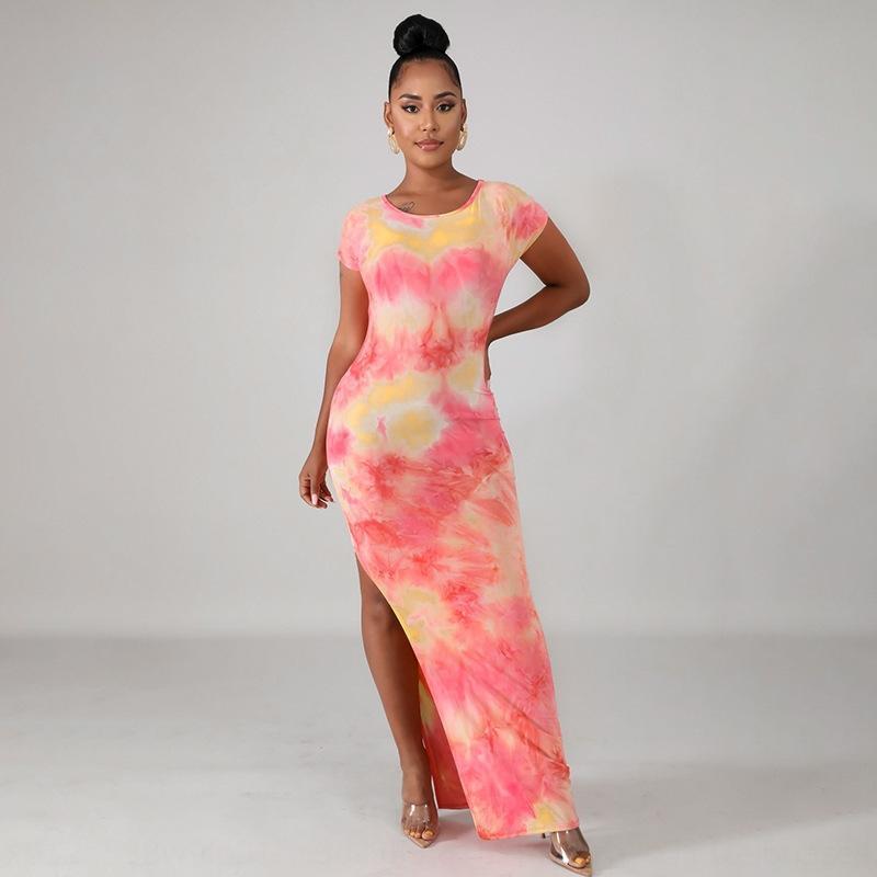 2020 novo impresso divisão coberta de hip tie-dye tie-tingidos 2020 nova divisão vestido Yuantong hip-coberto vestido Yuantong impressa das mulheres dos 5cSdO Mulheres