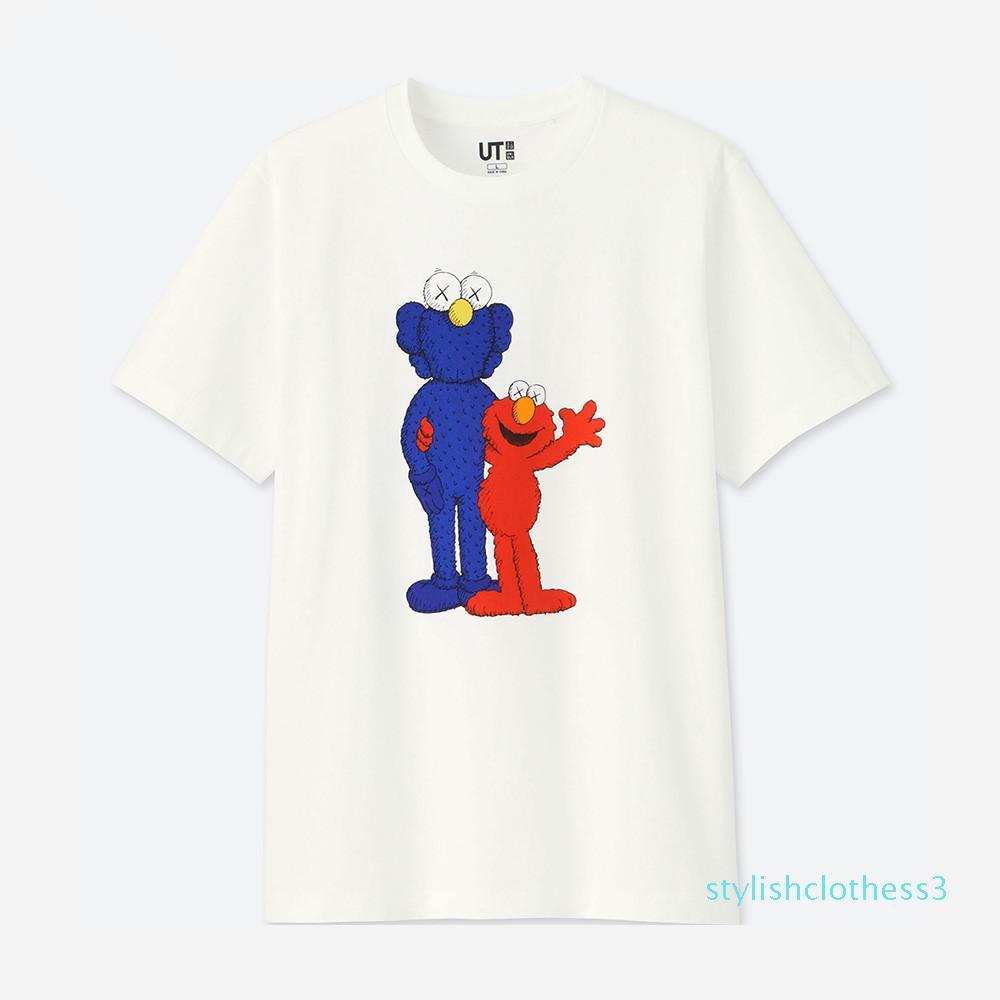 новых любителей рубашки мужчина женщин случайные футболки с короткими рукавами UNIQLO X KAWS X Улице Сезам L моды одежды тройники устаревать тройник топы качества S03