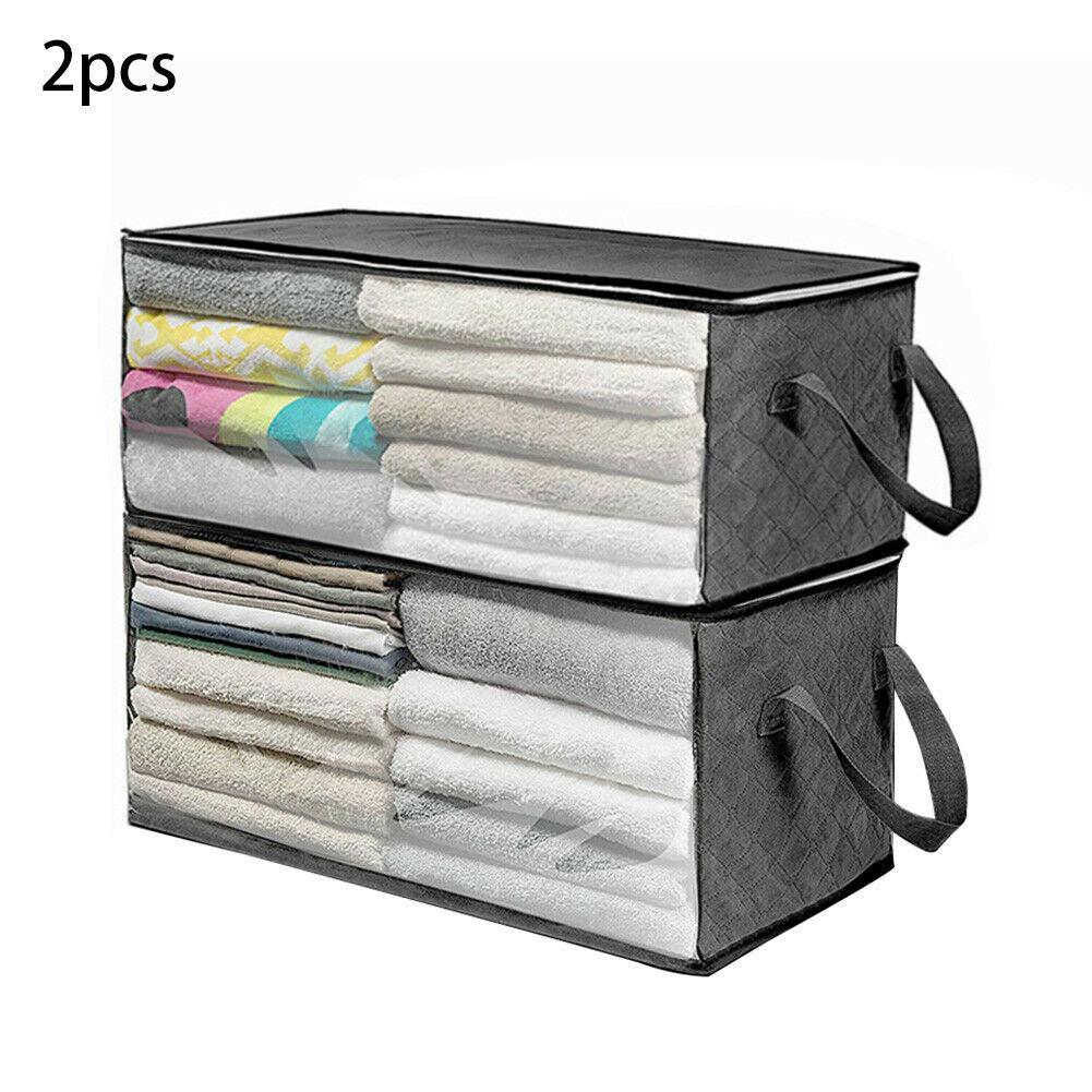 2pcs / set Taşınabilir Nem Geçirmez Fermuar Saklama Kutusu Giyim Dolap Bag Blanket