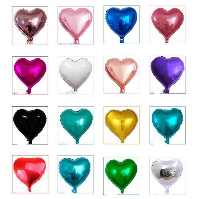 18 pouces coeur métallique Ballon Air mariage Décoration Joyeux anniversaire Ballon couleur métal coeur hélium Ballon UP7M