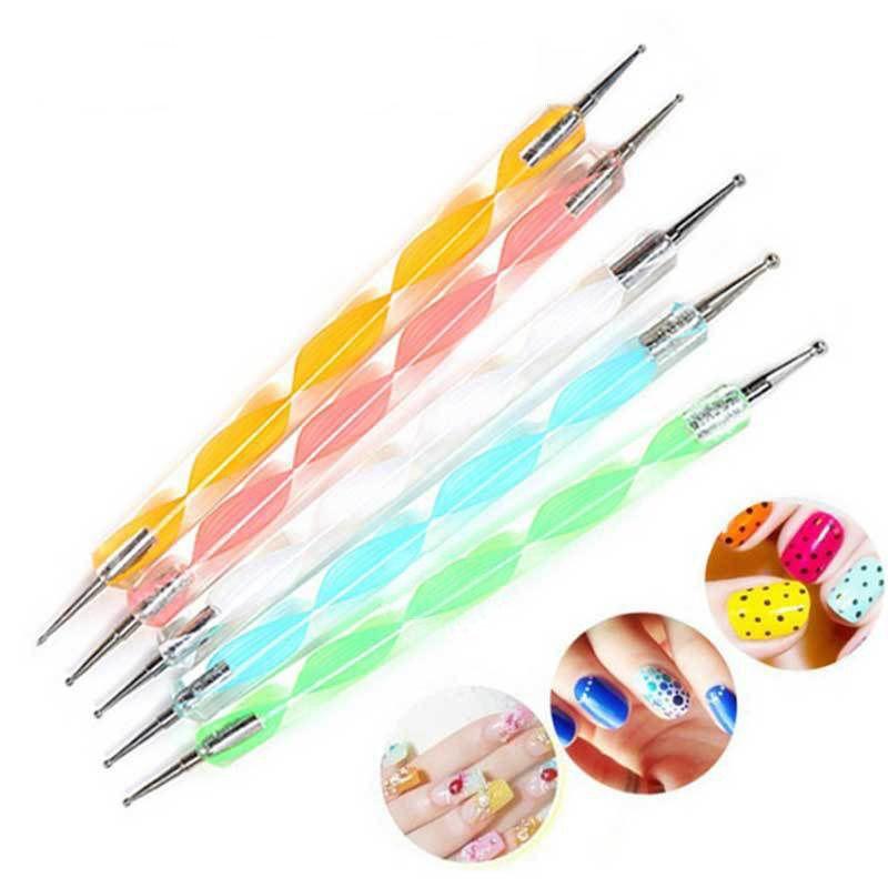 5pcs 2 façons à ongles acryliques pois stylo nage art diamant pois stylo couleur outils de couleurs peignant silencieux strips stylos